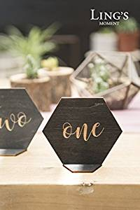 Hexagon Wood Table Numbers