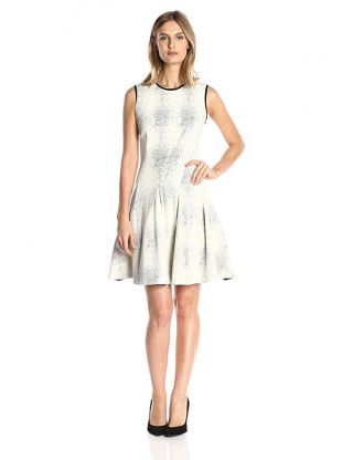Julia Jordan Women's Sleeveless Release Pleat Fit and Flair Jacquard Knit Dress