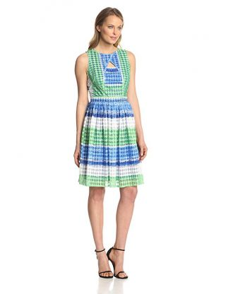 Julian Taylor Women's Sleeveless Stripe Printed Fit and Flare Cutout Dress