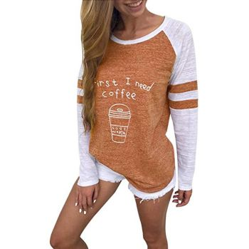 KESEE Clearance Baseball Clothing for Women ? Fashion Ladies Long Sleeve Splice Color Blouse Patchwork Tops
