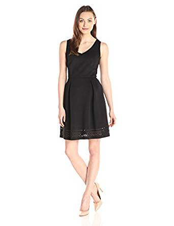 Lark & Ro Women's Sleeveless Laser Cut Scuba Fit and Flare Dress