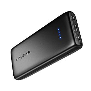 Portable Charger RAVPower 22000mAh External Battery Pack 22000 Power Banks 5.8A Output 3-Port (2.4A Input, iSmart 2.0 USB Ports, Li-polymer Phone Charger) For Smartphone Tablet – Black