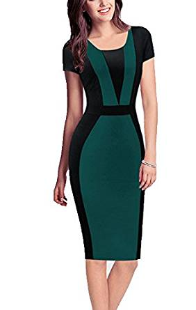 REPHYLLIS Women Summer Round Neck Business Working Cocktail Party Bodycon Dress