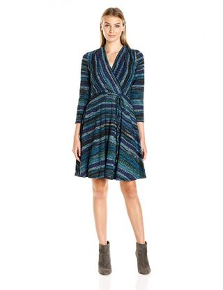 Sandra Darren Women's 3/4 Sleeve V-Neck Faux Wrap Knit Dress