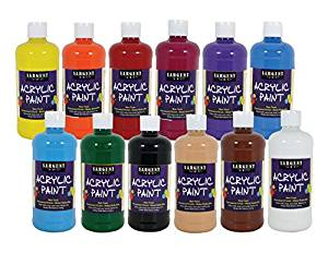 Sargent Art 24-2498 , 12Count Artist Quality Acrylic Paint Set, 12 Different Colors,