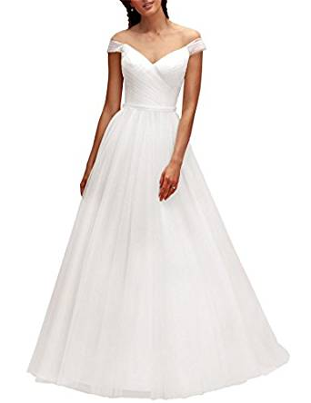 VikDressy Simple A Line Beach Off Shoulder Wedding Dresses