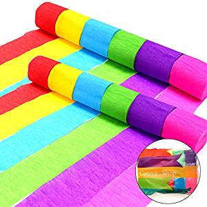 oceca 36 Rolls Crepe Paper Streamers, 6 Colors, for Birthday Party, Class Party,Family Gathering ,Graduation Ceremony Decorations