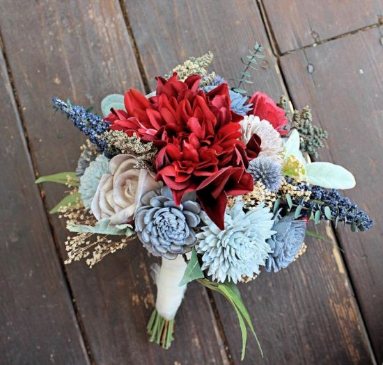 wedding bouquet with thistles