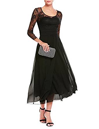 ANGVNS Women's Chiffon Scoop Neck Floral Lace Empire Waist Cocktail Party Dress