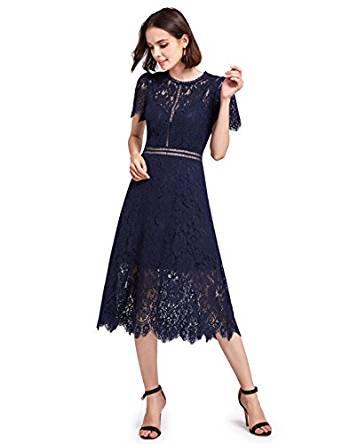 Alisa Pan Round Neck Tea Length Cocktail Lace Dress