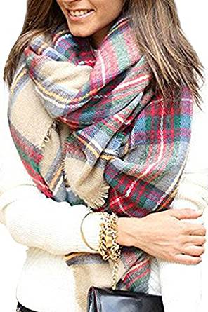 Bess Bridal Women's Plaid Blanket Winter Scarf Warm Cozy Tartan Wrap