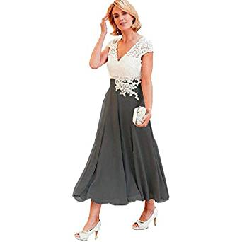 Gotidy Women's Tea-Length Mother of The Bride Dress V Neck Short Sleeve Formal Evening Gown