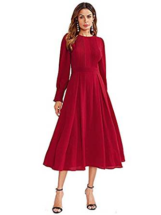 Milumia Women's Elegant Frilled Long Sleeve Pleated Fit & Flare Dress