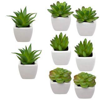 Mini planted faux succulents