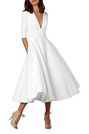 Selenova V-Neck Half-Sleeve Satin Tea Length Evening Dresses