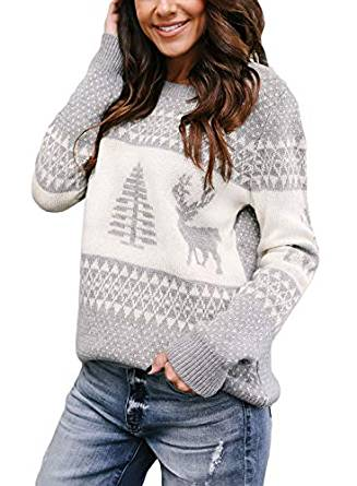 Sidefeel Women's Knitted Holiday Pullover