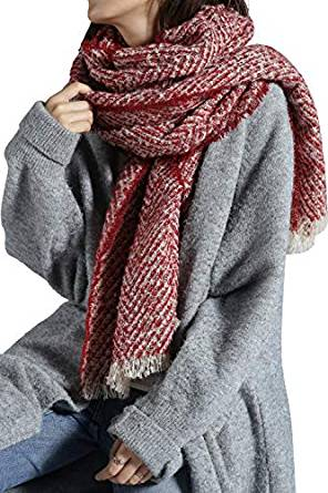 Women Long Scarf Blanket Wrap Shawl with Plaid and Herringbone for Cold Weather