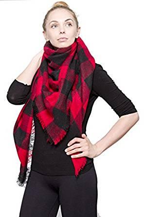 Womens Chic Tartan Plaid Checked Large Blanket Shawl Scarf