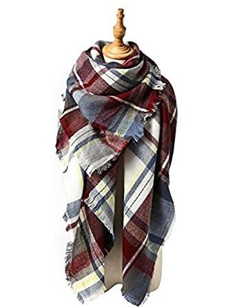 Zando Plaid Blanket Thick Winter Scarf