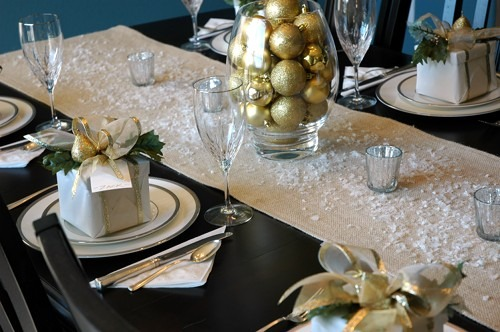 fake snow dinner table