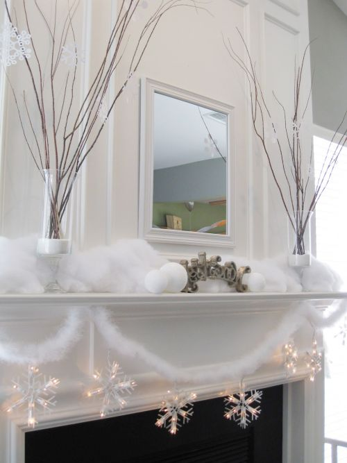 fake snow on mantel