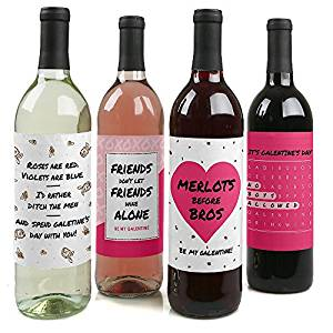 Be My Galentine - Valentine's Day Wine Bottle Labels - Set of 4