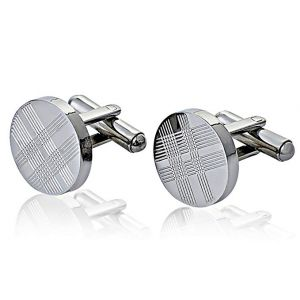 Jeneric Design's Men and Women's Cufflinks for French Cuff Shirts Sleeve Silver Round Stainless Steel With Tartan Pattern