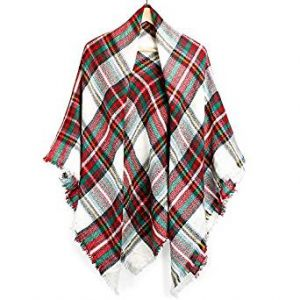 Oct17 Plaid Scarfs for Women Pashmina Tartan Wrap Large Warm Blanket