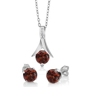 "Sterling Silver Red Garnet Earring & Pendant Set (2.25 cttw, 6MM Each Garnet, With 18"" Silver Chain)"
