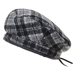 WITHMOONS Wool Beret Hat Tartan Check Leather Sweatband