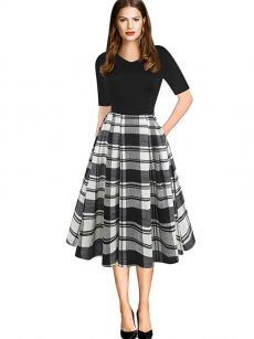 oxiuly Women's Vintage Patchwork Pockets Puffy Swing Casual Party Dress