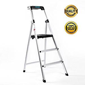 step Ladder,Ultra Lightweight and Sturdy 3 Step Ladders Aluminum 330 lbs Capacity Fold Up Step Stool with Platform for Home and Kitchen