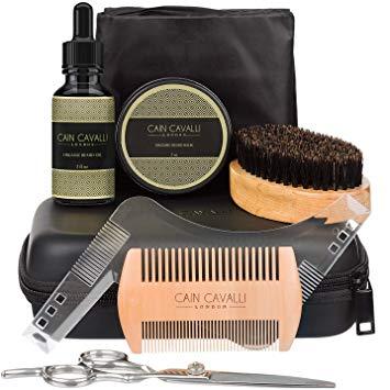 Beard Care Grooming Kit for Men Gift Set - Travel Case, Beard & Mustache Trimming Scissors, Organic Beard Oil Leave-in Conditioner, Shaping Tool, Bib, Brush, Comb, Beard Balm Butter