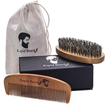 Beard Grooming & Trimming Kit for Men Care - Beard Brush, Beard Comb, Unscented Beard Oil Leave in Conditioner, Mustache & Beard Balm Butter Wax, Barber Scissors for Styling, Sha