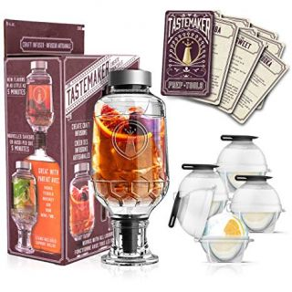 Cocktail Shaker Infuser Set, Active Infusion, Be an Infused Alcohol Cocktail Mixologist using the 10 Homemade Flavored Recipes + 4 Round Ice Ball Molds, Best Home Bar Kit, a Great Gift Item! by Tastemaker