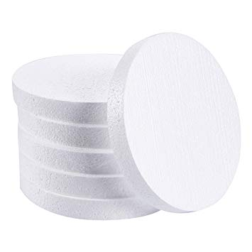 Craft Foam Circle - 6-Pack Polystyrene Foam Disc Foam Round for Sculpture, Modeling, DIY Arts and Crafts - White