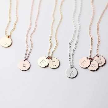 Delicate Initial Disc Necklace Rose Gold Initial Necklace Best Friend Personalized Bridesmaid Gift Women Holiday New Baby Letter Jewelry - CN