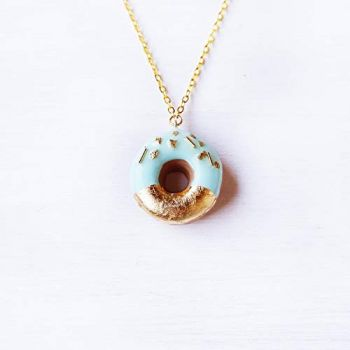 Elfi Handmade Gold and Pink Sprinkle Doughnut Necklace, Donut, Miniature Dessert Food Jewelry, Elegant, Kawaii, Donut Charm, Wedding Gift, Perfect for Christmas gifts