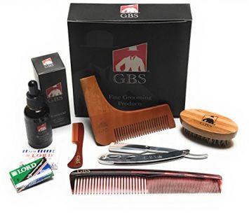 GBS Men's Beard Grooming Doppler Kit- Travel Bag Includes Boar Bristle Beard Brush, Beard Shaping Template, Mustache Comb, Wood Beard Comb with Sandalwood Beard Balm &