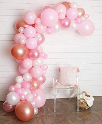 Junibel Balloon Arch & Garland Kit | 80 Pink, Blush, Rose Gold & White Sm to XLarge Balloons | Glue Dots & Decorating Strip | Wedding, Baby Shower, Graduation, Anniversary Organic Party Decorations