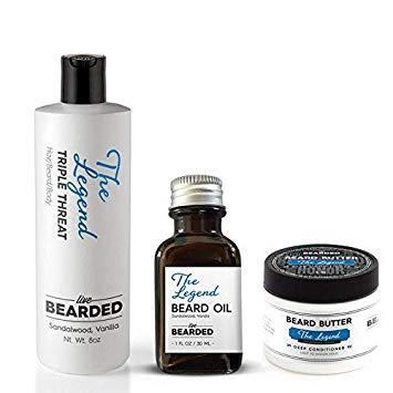 Live Bearded Sandalwood Beard Growth Kit, Legend Sandalwood With A Touch Of Vanilla Beard Bundle