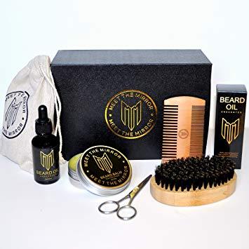 Natural beard grooming kit- beard oil set- beard growth- ultimate luxury beard care- mens gift- beard balm- beard brush- beard comb- scissors- complete mustache and beard care