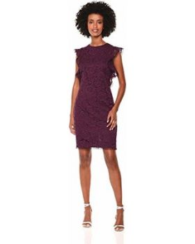 Vince Camuto Women's Lace Ruffle Sleeve Bodycon Dress
