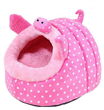 Cute Cartoon Soft Warm Short Plush Washable and Detachable Animal Shape Pet Dog Bed House kennel With Pad