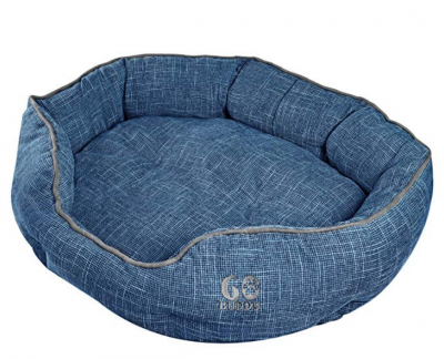 GOBUDDY Round Pet Bed for Cats & Dogs - Ultra Soft & Comfortable Cuddler Pet Bed - Reversible Removable Linen Cushion Prevents Overheating - Improves Sleep for Small, Medium & Large Animals