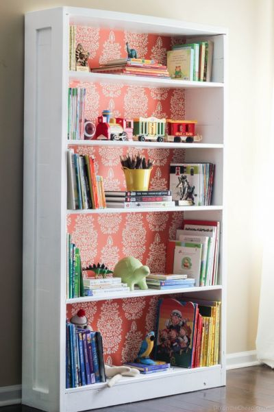 wrapping paper bookshelf