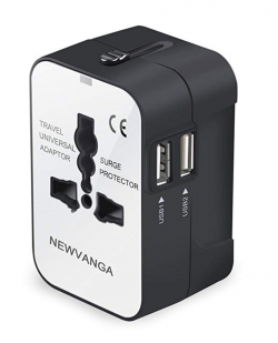 Travel Adapter Wall Charger AC Power Plug Adapter with Dual USB Charging Ports for USA EU UK AUS, White
