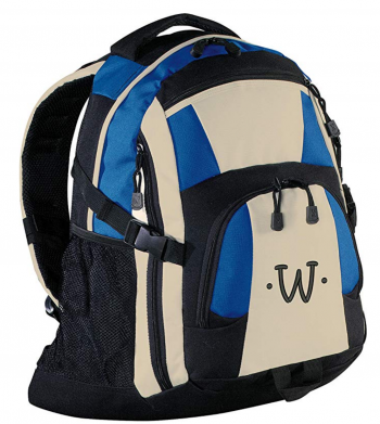 Monogrammed Royal/Black/Stone Urban Backpack, with Black Embroidered Initial W