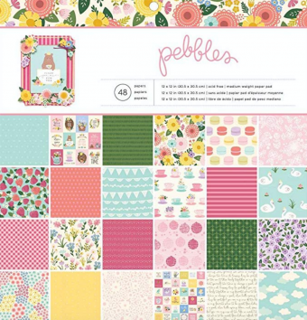 "American Crafts Pebbles 12"" x 12"" Tealightful Paper Pad - Double-Sided Patterned Paper - 48 Sheets"