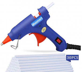 Hot Glue Gun, Blusmart Upgraded Mini Glue Gun with 30pcs Melt Glue Sticks, 20 Watt High Temperature Glue Gun for DIY Crafts, Projects, Fast Home Repairs & Creative Arts, Blue by Blusmart